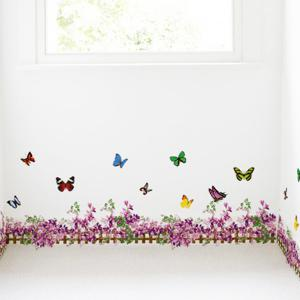 Flower Butterfly Fence Decorated Wall Sticker - PURPLISH RED