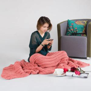 Chunky Knitted Super Large Throw Blanket - PEACH RED 116*200CM