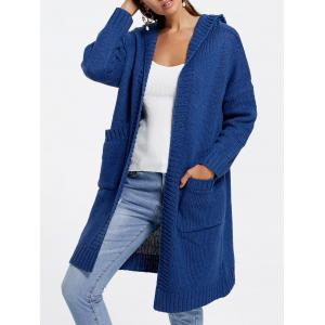 Front Pockets Knit Hooded Cardigan - Blue - One Size