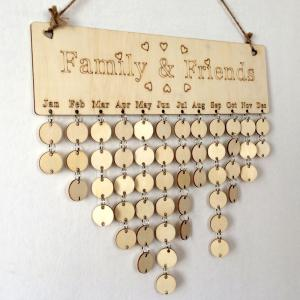 DIY Wooden Family And Friends Birthday Calendar Board