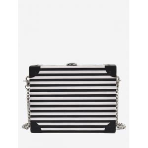 Striped Pattern Box Shaped Crossbody Bag - White And Black