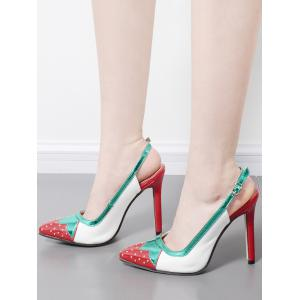 Strawberry Pattern Studded Pumps - WHITE 37
