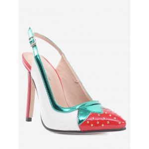 Strawberry Pattern Studded Pumps - White - 40