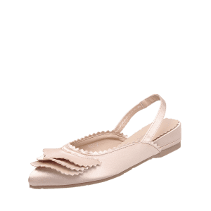 Slingback Toothed Edge Flat Shoes - Rose Clair 37