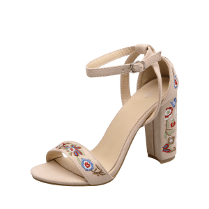 Ankle Strap Embroidered Block Heel Sandals - APRICOT 37