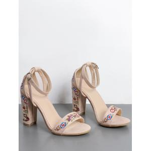 Ankle Strap Embroidered Block Heel Sandals - APRICOT 38