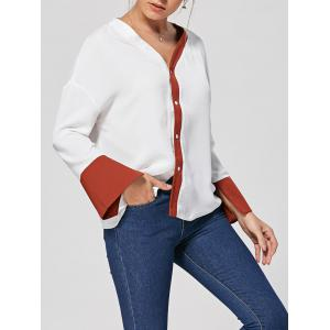 Button Up Two Tone V Neck Blouse