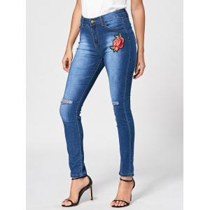 Embroidery Cut Out Distressed Jeans