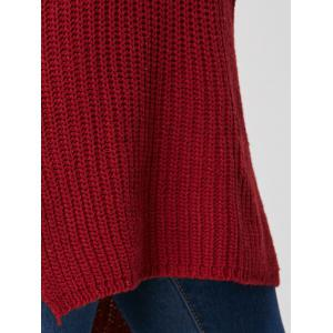 Slit High Low Casual Tricot Robe - Rouge vineux  TAILLE MOYENNE