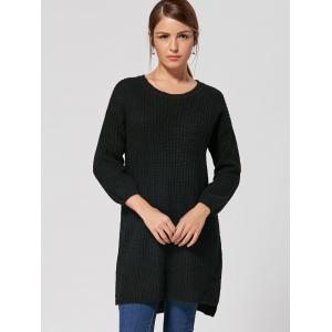 Slit High Low Casual Knit Dress - BLACK ONE SIZE