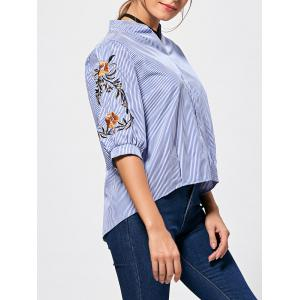 Back Button Stand Collar Embroidery Blouse - Blue Stripe - One Size