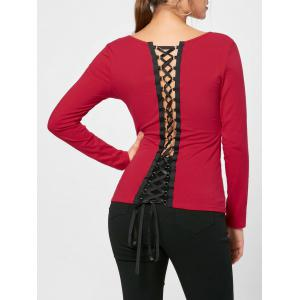V Neck Lace Up Top - Red - 2xl