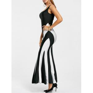 Sexy Scoop Neck Color Block Hollow Out Sleeveless Maxi Dress For Women - WHITE AND BLACK ONE SIZE(FIT SIZE XS TO M)
