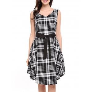 V Neck Plaid Swing Dress -