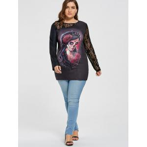 Skull Plus Size Lace Insert Halloween Witch T-shirt -