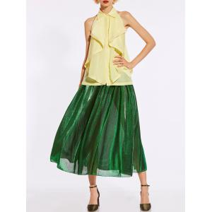 High Waist Metallic Midi Skirt - GREEN S