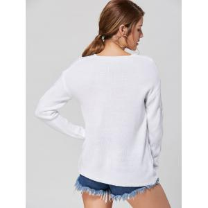 Casual V-neck Knit Sweater - WHITE S