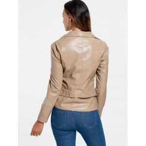 PU Leather Zipper Biker Jacket -