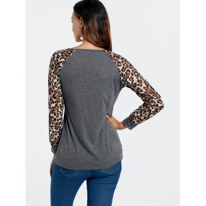 Stylish Scoop Neck Leopard Print Long Sleeve Baseball T-Shirt For Women -