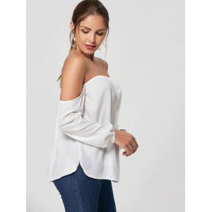 Fashionable Boat Neck Long Sleeve White Blouse For Women -