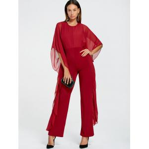 Mesh Panel High Waist Jumpsuit -