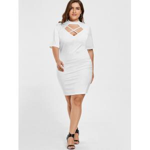 Criss Cross Bodycon Plus Size Fitted Dress -