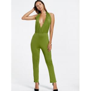 Backless Plunging Neckline Jumpsuit -