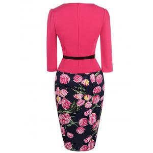 Floral Print Belted Bodycon Dress -
