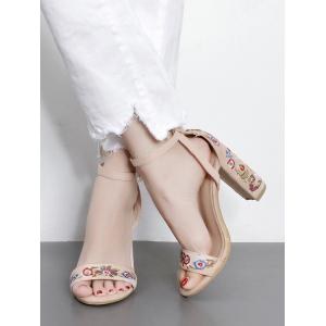 Ankle Strap Embroidered Block Heel Sandals -