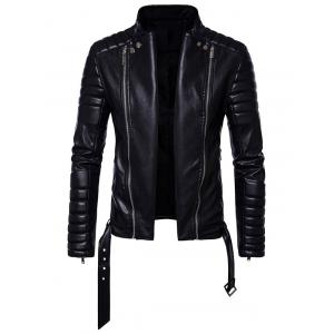 Belted Convertible Zip Up Biker Jacket -