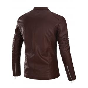Appliques Zip Up PU Leather Jacket -