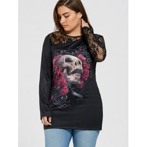 Halloween Lace Insert Plus Size Floral Skull Printed T-shirt -