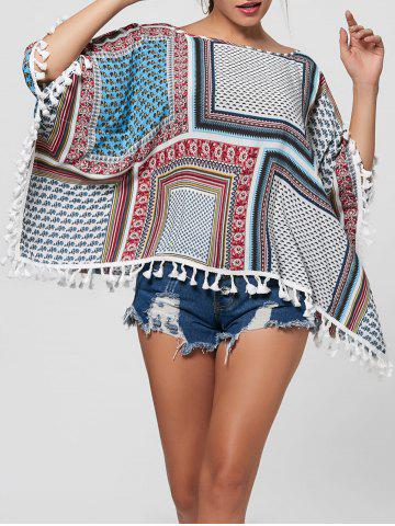 Fringed Batwing Sleeve Blouse - Colormix - M