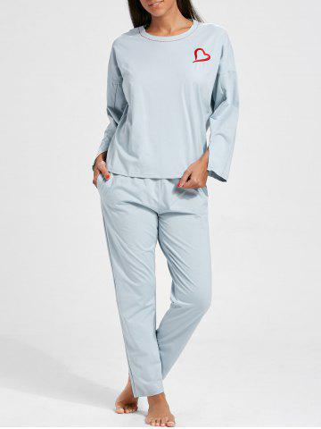 Affordable Sleepwear Batwing Sleeve T-shirt and Pants - L CHARM Mobile