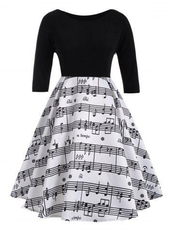Musical Notes Print Plus Size Vintage Dress - White And Black - 3xl