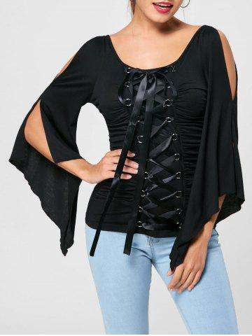 Store Lace Up Ruched Flare Sleeve Top - 2XL BLACK Mobile