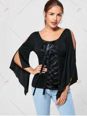 Shop Lace Up Ruched Flare Sleeve Top - 2XL BLACK Mobile