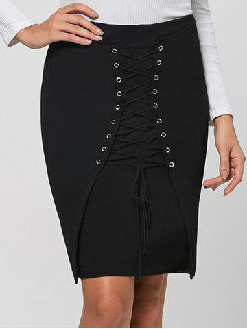 Fancy Lace Up Tight Skirt - M BLACK Mobile