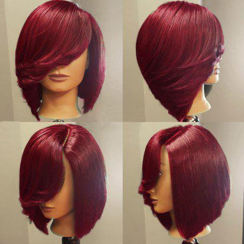 Shops Deep Side Upward Part Short Straight Inverted Bob Synthetic Wig - WINE RED  Mobile