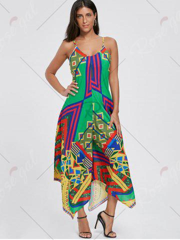 Fashion Asymmetrical Printed Cami Palazzo Jumpsuit - S COLORMIX Mobile