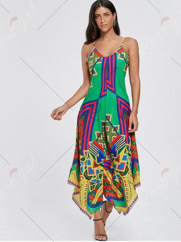 Hot Asymmetrical Printed Cami Palazzo Jumpsuit - S COLORMIX Mobile