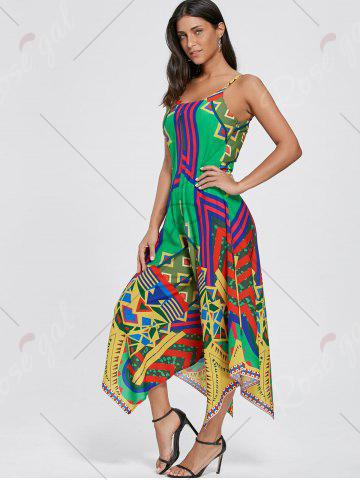 Trendy Asymmetrical Printed Cami Palazzo Jumpsuit - L COLORMIX Mobile