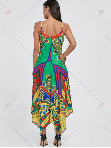 Unique Asymmetrical Printed Cami Palazzo Jumpsuit - XL COLORMIX Mobile