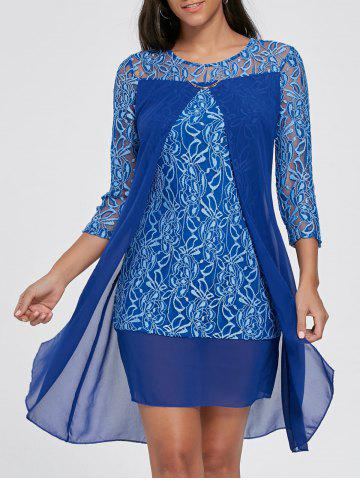 Affordable Slit Front Mini Lace Sleeve Dress - S DEEP BLUE Mobile