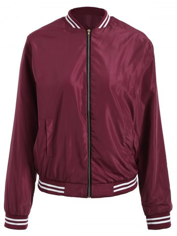 Zip Up Color Trim Baseball Jacket - Wine Red - Xl