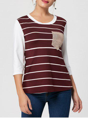 Striped Sequin Pocket Tee - Wine Red - 2xl