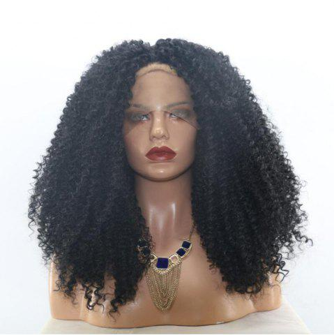 Long Free Part Shaggy Curly Lace Front Synthetic Wig - Black - 14inch
