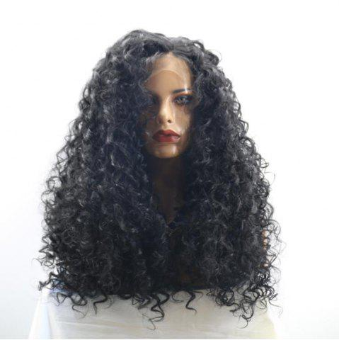 Unique Long Free Part Shaggy Curly Synthetic Lace Front Wig BLACK