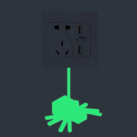 Shops Spider Shape Fluorescent Switch Wall Sticker - GREEN  Mobile