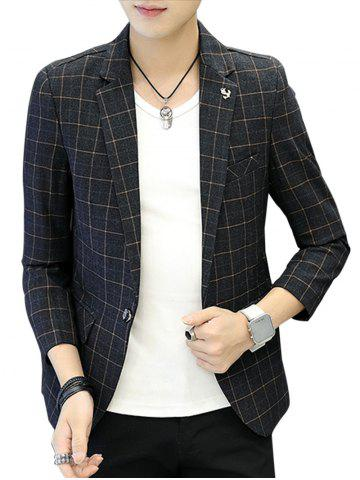 Discount One Button Metal Detail Checked Blazer - XL GRAY Mobile